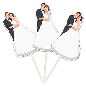 Køb Cocktailpinde med brudepar. Flotte og romantiske pinde til cocktail og pindemadder. #bryllup #cocktail #wedding