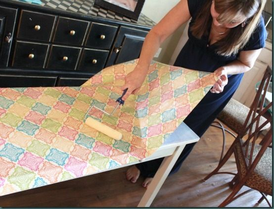 Decoupage / Modge Podge furniture Tutorial. It would be sooo cute to do this with different squares of patterned paper and a lace strip between each. :)