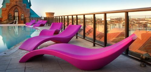 Futuristic Furniture, Modern pink pool chairs Available at Property Furniture http://propertyfurniture.com/outdoor/cloe-chaise-lounge/