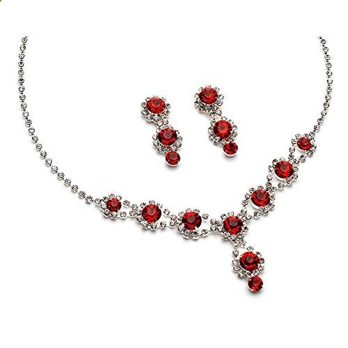 USABride Sparkling Red Crystal with Rhinestones, Necklace & Earrings Prom Jewelry Set 503-R. Read more description on the website.