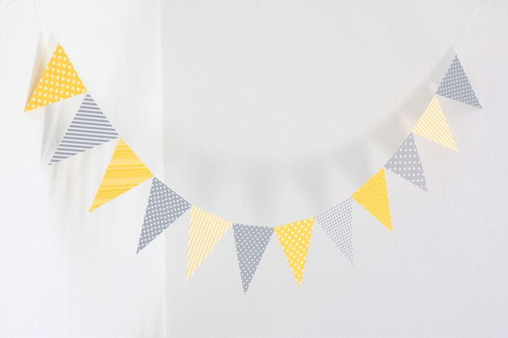 Guirlande de fanions en papier, coloris jaune et gris