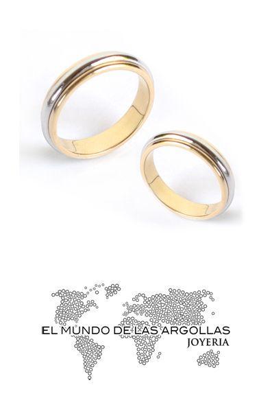 Modelo: H-CDUVAL4MC - Argolla oro combinado 14k 4mm confort #ArgollasDeMatrimonio