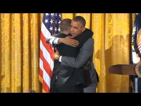 Special Olympian Gives Obama Hug During Speech