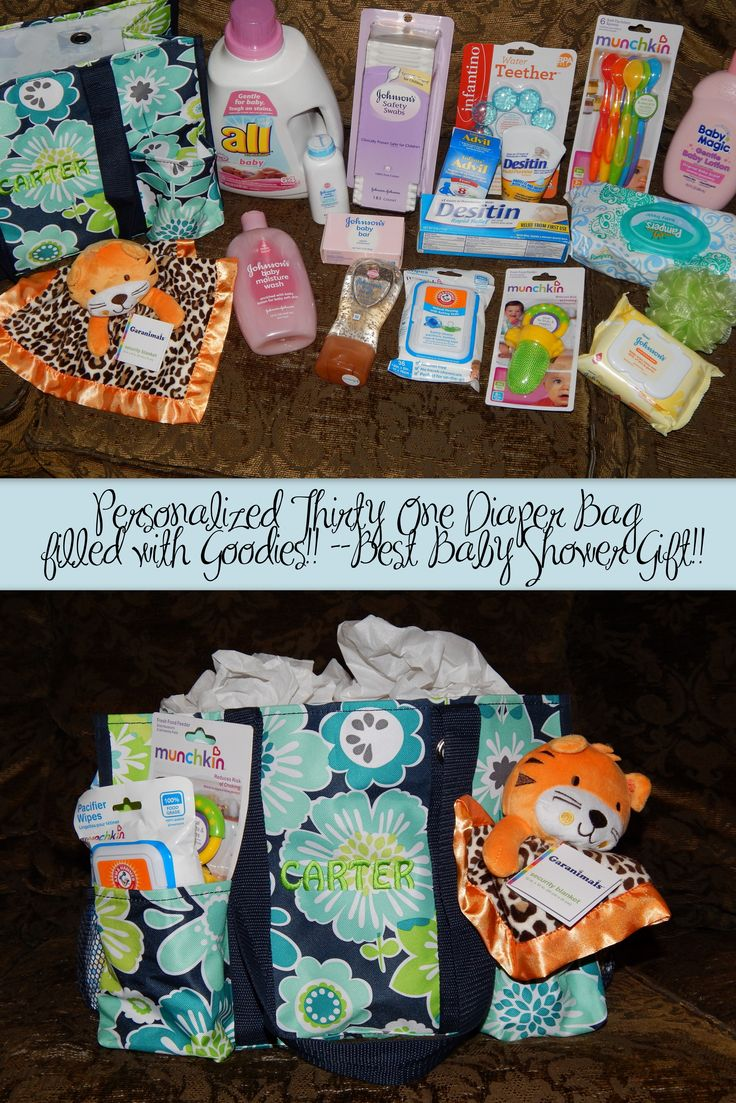 Personalized Thirty One Diaper Bag --filled w/ Goodies! ((Always what I do for baby showers and it's always a big hit. I love Thirty One bags myself, so I love giving them as gifts!
