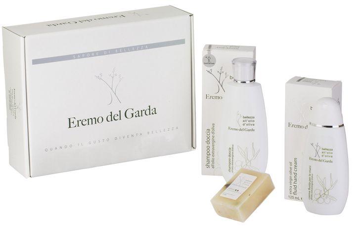 Confezione cosmesi all'olio extra vergine di oliva: saponetta, shampoo doccia, rema fluida mani