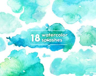 Watercolor Splashes Clipart: 18 Digital files. by OctopusArtis