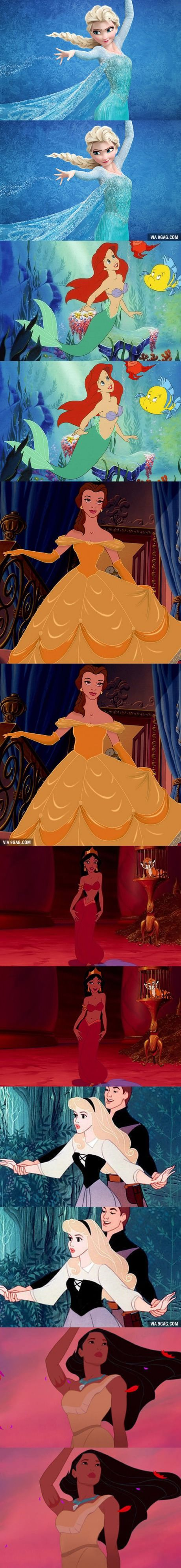 If Disney Princesses Had Realistic Waistlines. The originals look ridiculous now.