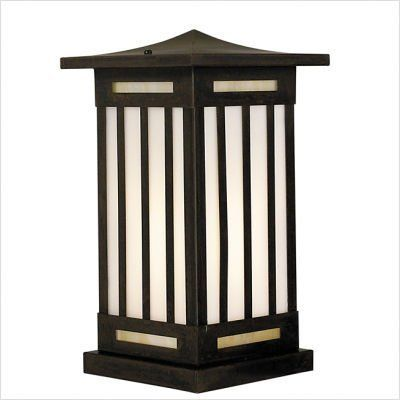"""Arroyo Craftsman HIC Himeji Outdoor Column Mount Lantern by Arroyo Craftsman. $392.87. Arroyo Craftsman HIC Features: -Himeji collection. -Available in several finishes. -Available in several shade colors. -UL listed. -Suitable in wet location. Specifications: -Accommodates: 1 x 100W medium incandescent bulb. -Available sizes:. -12.5"""" Overall dimensions: 12.5"""" H x 7"""" W. -Mounting base: 6"""" W x 6"""" D. -16"""" Overall dimensions: 16"""" H x 9"""" W. -Mounting base: 7.5"""" W x ..."""
