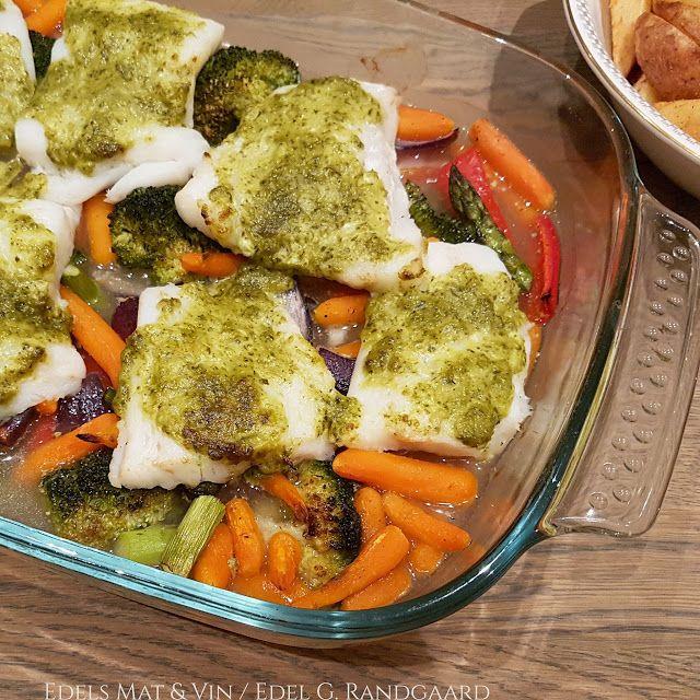 Edels Mat & Vin: Ovnsbakt torsk med grønnsaker og pesto ♥