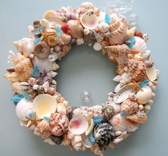 Unique Beaded Periwinkle Seashell Coloring Page: Nautical Decor Seashell Wreath, Beach Decor Shell Wreath