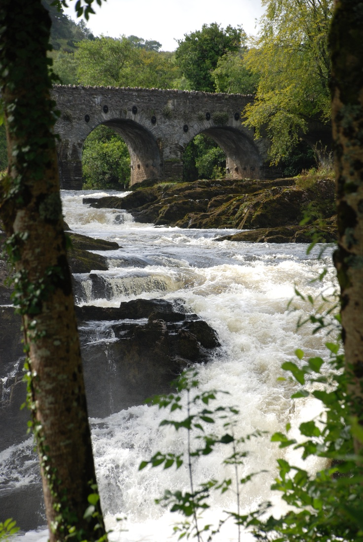 Sheen Falls - Kenmare, Ireland - the falls from the back lawn and view from reception dinning room at my wedding venue