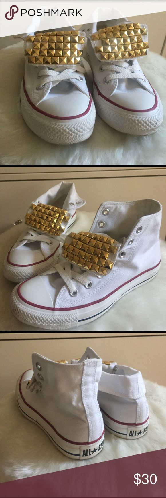 All Star Hi-top custom studded converse WORN ONCE! Cute & edgy pyramid studded converse can be worn as hi tops or folded. Converse Shoes Sneakers