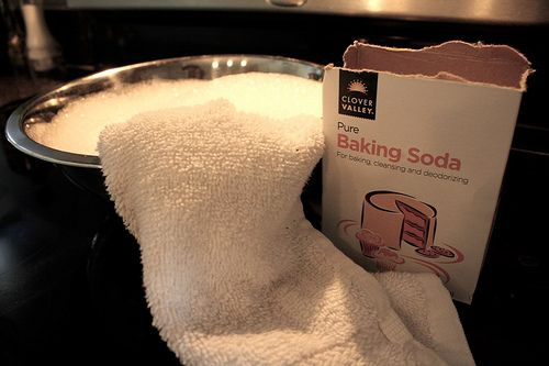 I'm going to try this because my glass cooktop is never clean..hope this works!    Directions: First, you fill a bowl with hot tap water water and mix it with some dish soap. Submerge the rag in the bowl and get it wet. Apply baking soda in a generous amount all over the affected area. Now pull out that hot soapy rag out of the bowl and squeeze half the water out. You want it to be soggy, not sopping.  Lay it over the baking soda and wait about 15 minutes… Then swirl the rag around in…