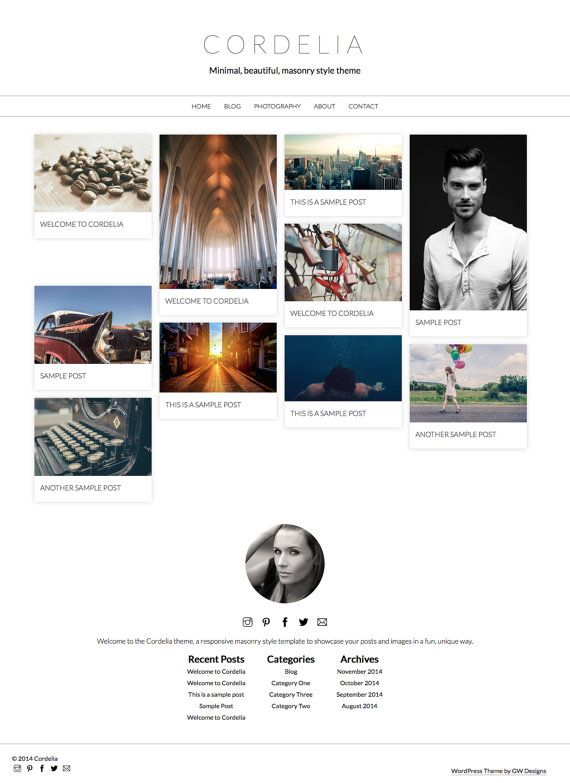 WordPress Theme: Cordelia Responsive Minimal Pinterest by GWPress cordelia.gary-wilkerson.com www.etsy.com/shop/gwpress