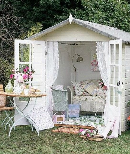 What a lovely place to enjoy the outdoors. Reminds me of something from Emma. 'She Sheds' We'd Love to Have