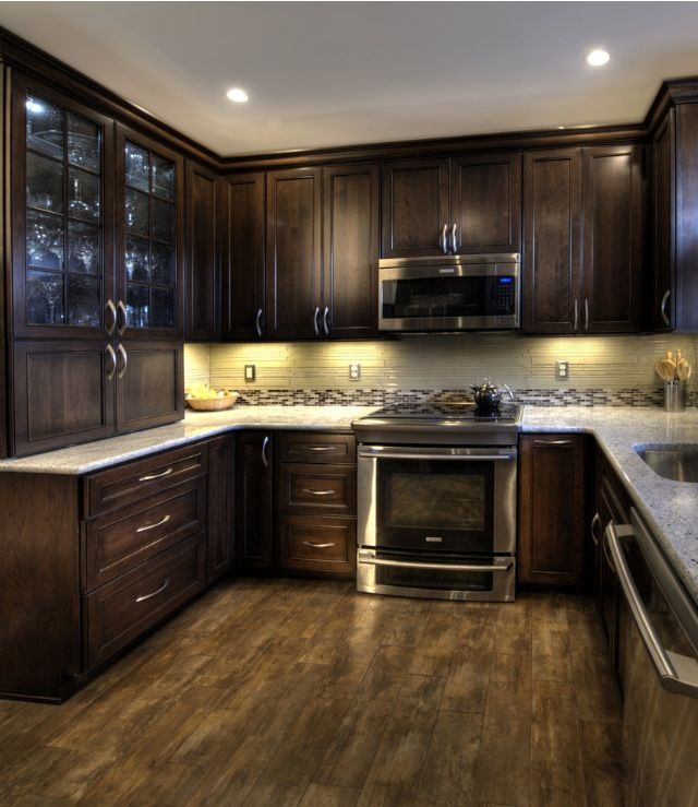 Kitchen Renovations Dark Cabinets: Durasupreme Cherry Cabinet With Mocha Finish, Maniscalco Simpson Desert Waterfall Glass Tile