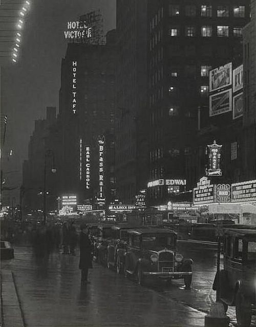 NYC. Times Square at dusk, 1930s