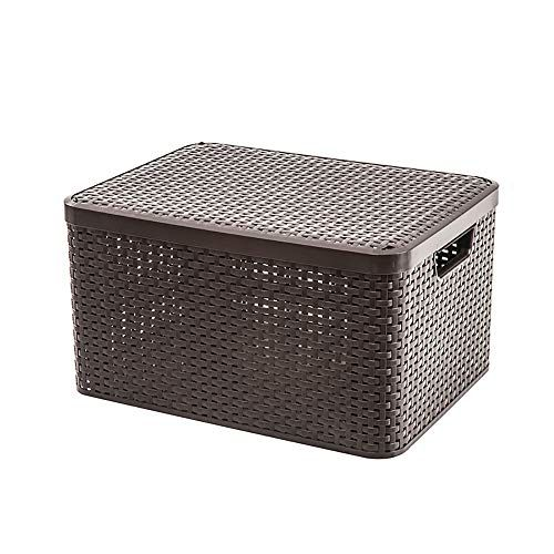 Gaoxu Containers Hakn Storage Box Covered Plastic Rattan Basket Children S Snack Toy Clothes Color B