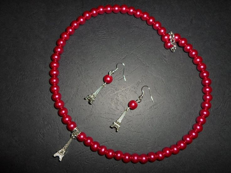 Eiffel-tower / necklace/earrings  with pink glass beads by SiDaStyle on Etsy