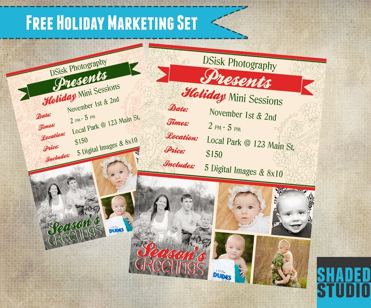 free holiday mini marketing template for photoshop and elements photography