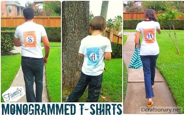 stripes family monogrammed t-shirts: T Shirts Ink, Stripes Families, Families Monograms, Crafts Projects, Ink Effects Families, Families Tees, Decoarting Ink, Stripes Monograms, Monograms T Shirts