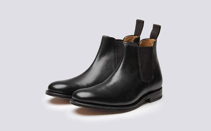 Womens Chelsea Boot in Black Calf Leather with a Leather Sole | Grace | Grenson Shoes - Three Quarter View