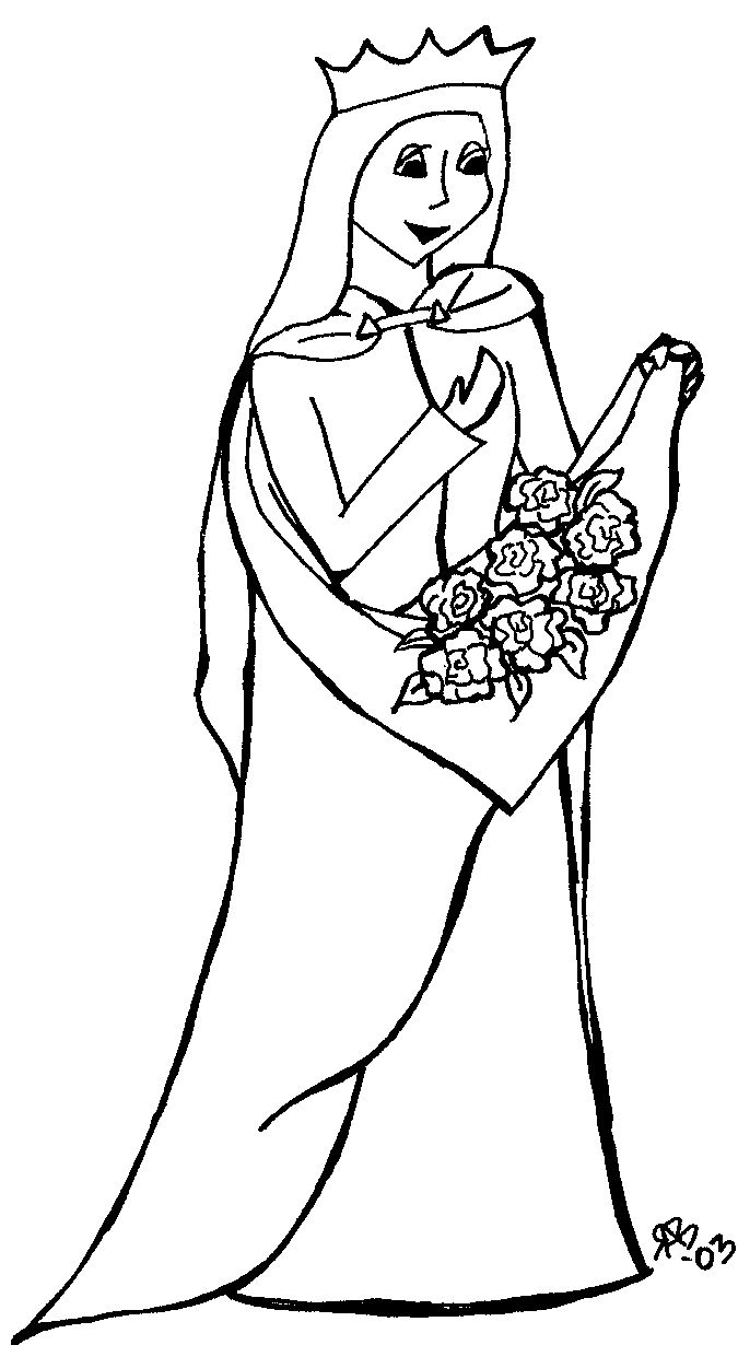 Colouring pages for november - St Elizabeth Of Hungary Coloring Page From Coloringsaints Org