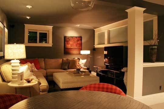 Both Josh and I really like the feel of this basement family room.  Like the lamp lighting.