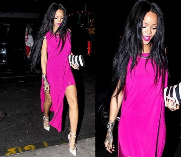 Rihanna Wore Long pink dress, pair of white claw Christian Louboutin shoes. Pink Lipstick, Long Strainght hairstyles, hand tattoo