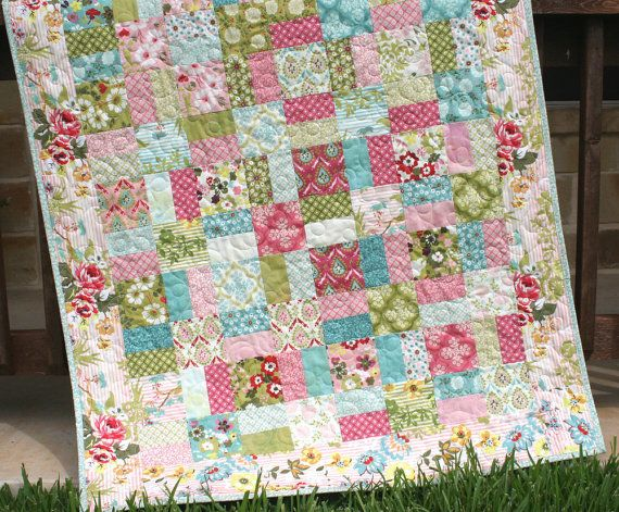 Shabby Chic Baby Quilt Hello Luscious Baby by SunnysideDesigns2, $159.00