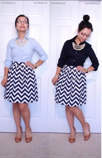 SewPetiteGal: Mother-Daughter Chevron Pleated Skirts DIY