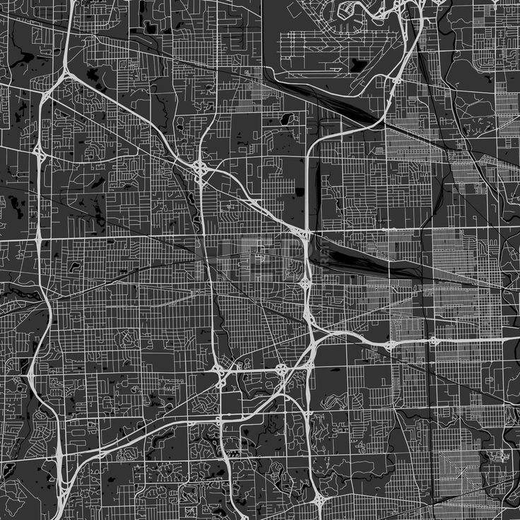 Elmhurst downtown and surroundings Map in dark