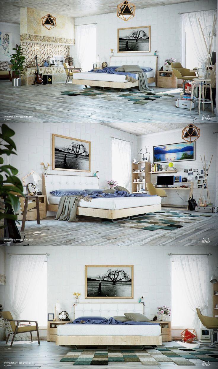 ... Contemporary Interior Design Concept For Small House Modern Master  Bedroom Lighting Decor Nightstand Furniture Ideas Loft Headboard Cushion Space  Saving ...