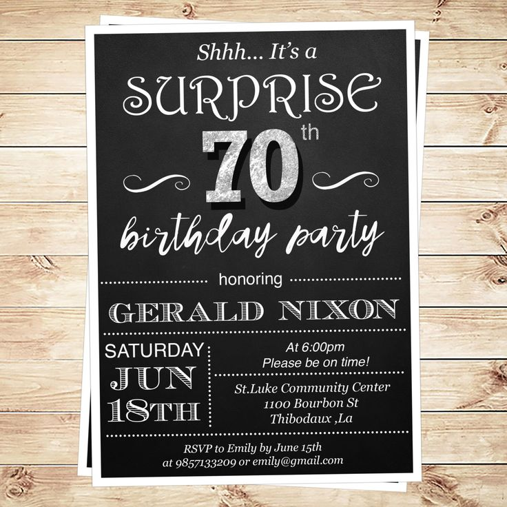 Surprise 70 birthday party invitations, surprise 70th birthday party ideas for men, 70th birthday party invitations, DIY Party Invitation by DIYPartyInvitation on Etsy https://www.etsy.com/listing/268242450/surprise-70-birthday-party-invitations