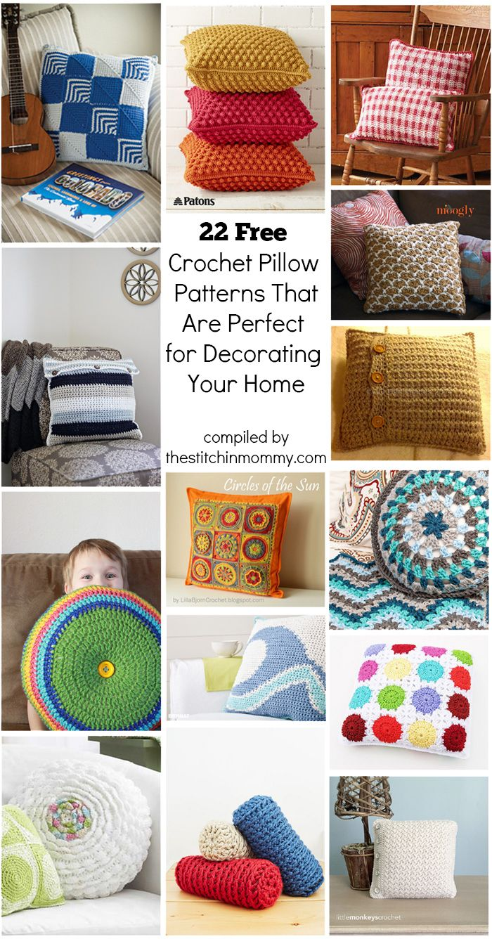 22 Free Crochet Pillow Patterns That Are Perfect for Decorating Your Home compiled by The Stitchin' Mommy   http://www.thestitchinmommy.com