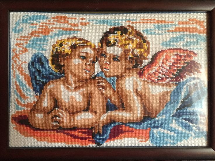 """Finished/сompleted cross stitch, Home decoration, Framed cross stitch, Handmade embroidery - """"Angels"""". Free shipping by NattikStudio on Etsy"""