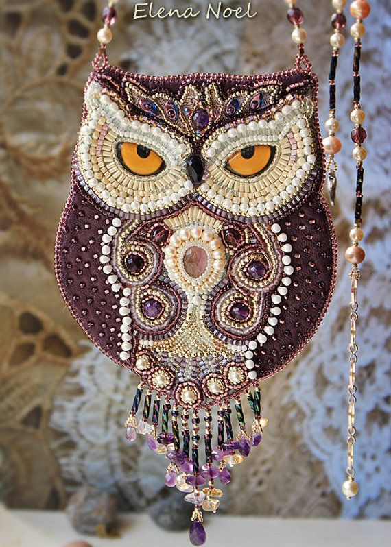 New fabulous owl with intelligent eyes and a penetrating gaze. Owl - pendant embroidered with Japanese beads, beautiful amethyst and freshwater pearls.