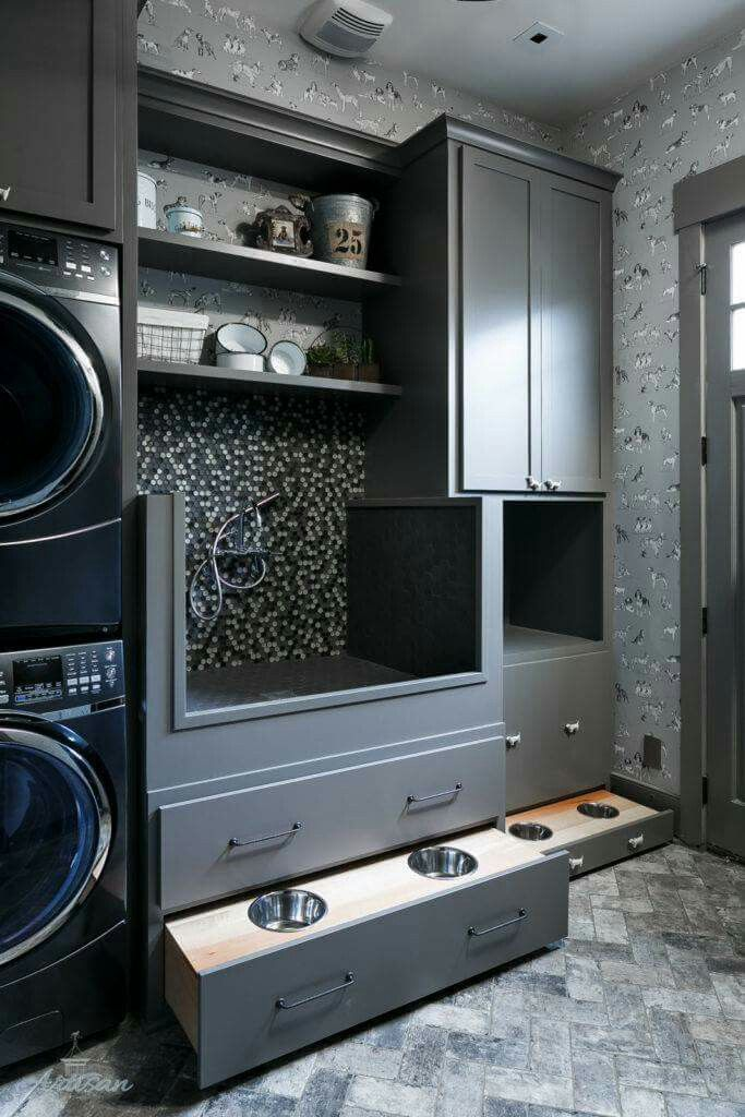 Grey laundry room with pet station