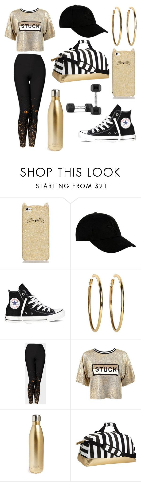 """""""Work Hard, Play Hard"""" by clevver ❤ liked on Polyvore featuring Kate Spade, STONE ISLAND, Converse, Kenneth Jay Lane, Sans Souci, S'well and PBteen"""