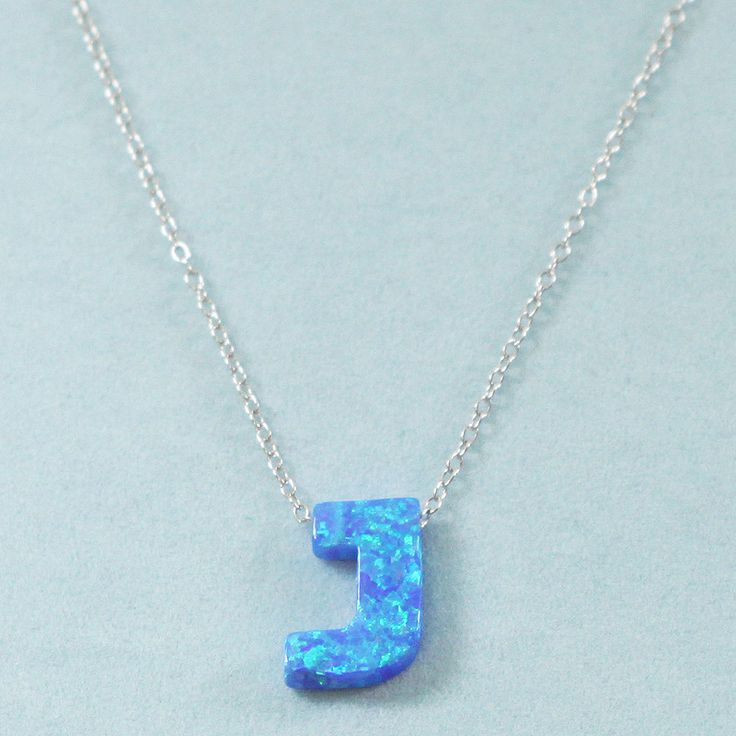 925 Sterling Silver Opal J-Initial Pendant Necklace