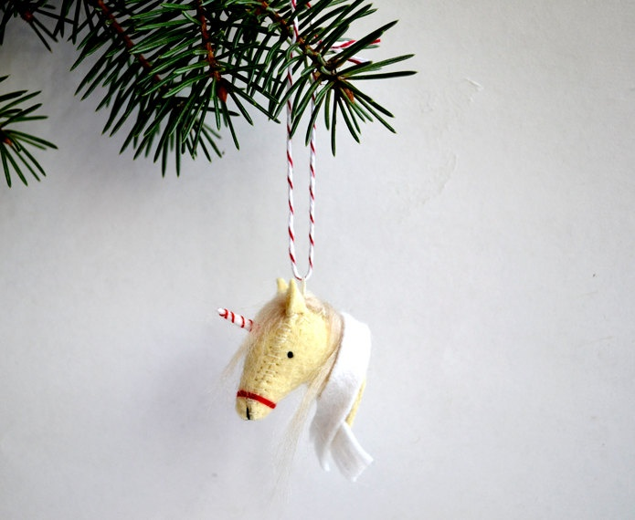 unicornament - felt christmas unicorn ornament. $34.00, via Etsy. SWEET JESUS I NEED