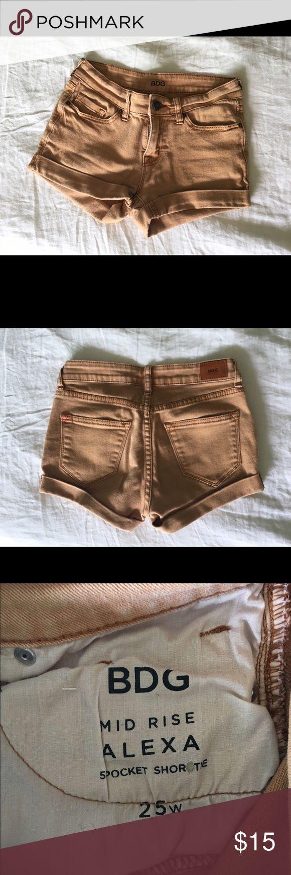 Mustard Jean BDG shorts BDG 'mid-rise Alexa' mustard Jean colored shorts size 25 BDG Shorts Jean Shorts