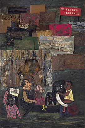 Inundación en el barrio de Juanito, 1961 óleo, metal y cartón s/hardboard, 186 x 124 cm. Col. privada