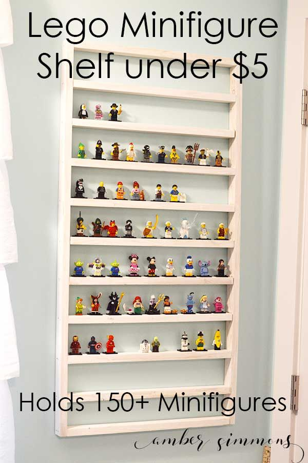 This easy DIY Lego Minifigure shelf can hold over 150 Lego Minifigures and costs less than $5.