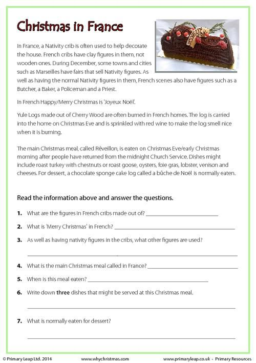 PrimaryLeap.co.uk - Reading comprehension - Christmas in France Worksheet