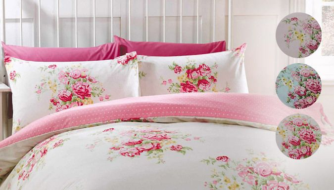 Supersoft Flannelette Bedding; 3 Colours Get the most out of lazy mornings in bed with this Supersoft Flannelette Bedding      Each duvet cover comes with 1 (single) or 2 (double / king size) pillowcases      Single cover 135cm x 200cm, double 200cm x 200cm, king 220 x 230cm      These pretty reversible duvet sets have a lovely floral pattern      Pillowcases measure 50cm x 75cm      Made with...
