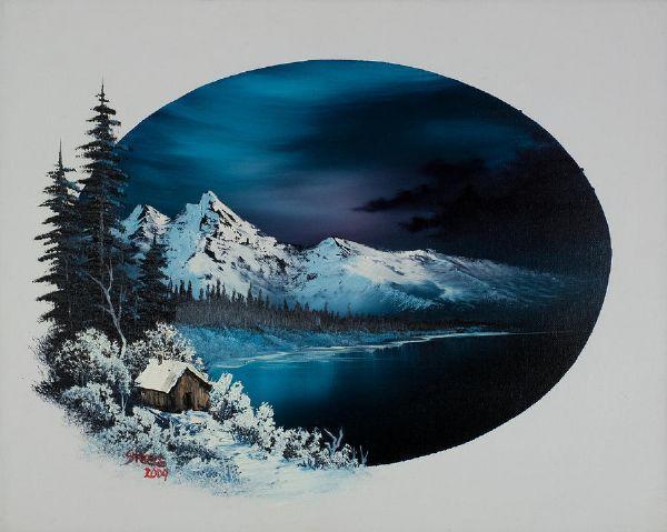 bob ross hidden winter moon paintings