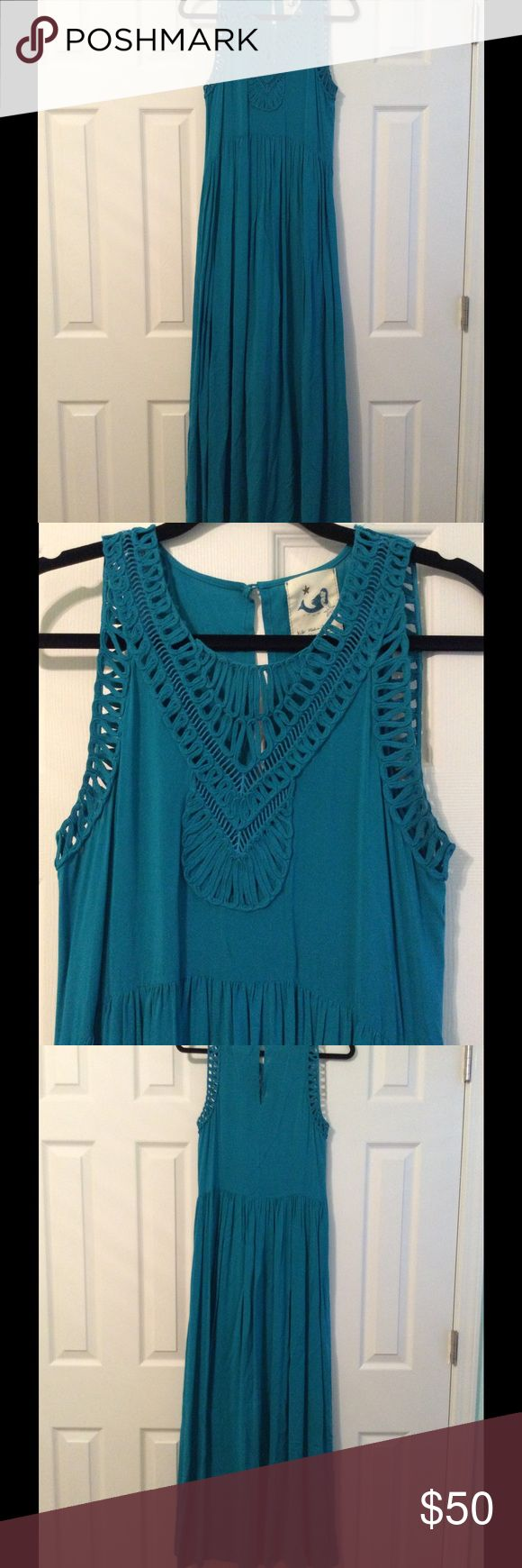Anthropologie Mermaid Crochet Maxi Dress Excellent condition, I only wore this a few times. It's rayon. Will fit a small or extra small. I'm a small and 34b and it fits perfectly. Anthropologie Dresses Maxi