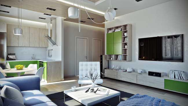 Гостиная совмещенная с кухней в хрущевке или маленькой квартире