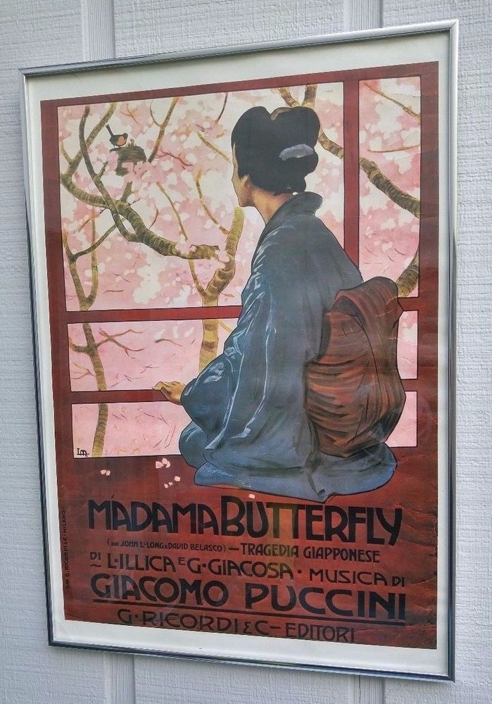 """VINTAGE PUCCINI MADAMA BUTTERFLY Framed Art Poster Print, 27 1/2"""" x 19 3/4"""""""